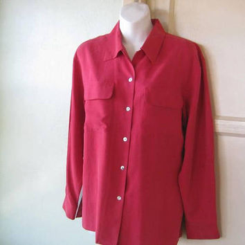 Nicely Tailored Red Silk Shirt; Women's Medium Uniform-Influenced, Masculine-Feminine Long-Sleeve Blouse; U.S. Shipping Included