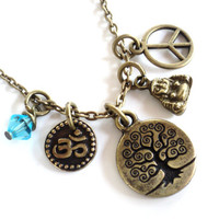 Tree of Life Necklace Peace Om Yoga Jewelry Namaste Etsy Bohemian Buddha Valentines Mothers Day Earthy Unique Gift For Her Under 30 Item T69