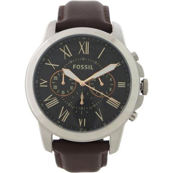 Fossil - FS4813P Grant Chronograph Brown Leather Watch
