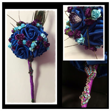 Royal Blue, Turquoise & Deep Purple Floral Peacock Brooch Toss or Flowergirl Small Bouquet