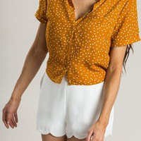 Jada Mustard Polka Dot Collar Top