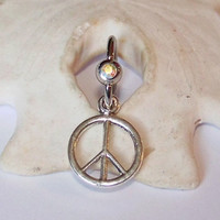 Belly Button Ring - Body Jewelry - Navel Piercing - Silver Peace Sign on Jewelled Captive Bead Ring - Made to Order