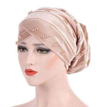 Candy Colors Women Beading Velvet Headwrap African Head wrap Tie Scarf Twist Hair Band Turban Bandana Bandage Hijab Accessories
