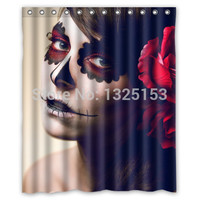 Custom Sugar Skull Makeup Shower Curtain 60 x 72 Inch Bathroom Curtains