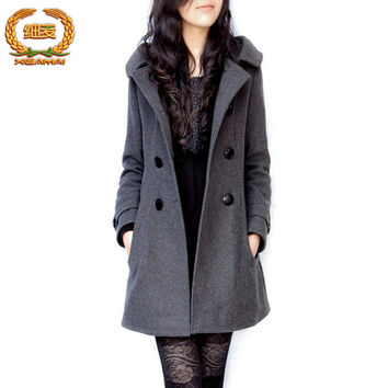coat long coats winter women  jacket female Blends woolen warm overcoat femininos plus size ladies black Clothing 4XL 5XL 6XL