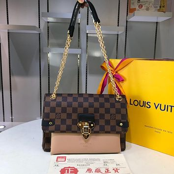 DCCK2 1014 Louis Vuitton Saint Placide Damier Ebene Fashion Handbag 25-18-10cm Khaki Brown