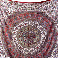 LARGE Cotton Fabric Hippie Mandala Elephant Wall Hanging Indian Bohemian Bedding Throw Bedspread Boho Wall Tapestry Home Decor Art