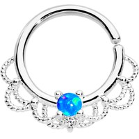 "16 Gauge 5/16"" Blue Faux Opal Platinum Plated Seamless Circular Ring"