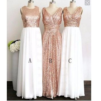 Rose Gold Sequins Bridesmaid Dresses 2017 Burgundy Honor Of Bridesmaid Formal Wedding Guest Gown A Line Long  Cheap