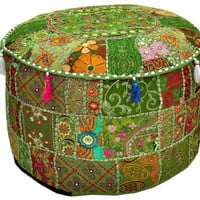 Green Bohemian pouf Ottoman Embroidered Footstool Decorative Tuffet bean bag banjara furniture Indian pouf foot stool chair cover pouffe