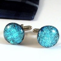Handmade Cufflinks, Aqua Blue Ice Dichroic Glass, Men's Jewelry OOAK