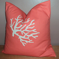 18x18 Coral and White Decorative Pillow Cover - Same Fabric Both Sides