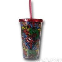 Marvel Heroes Collage Acrylic Cold Cup w/Lid