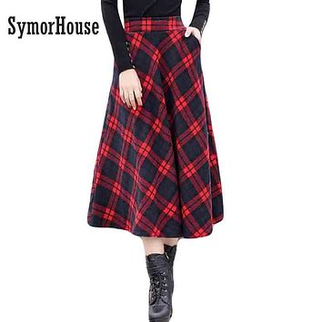 Plaid Skirt Women Long A-Line Skirt British Style Woolen Plaid Skirts Winter Vintage Wool Tartan Umbrella Long A-line Skirts
