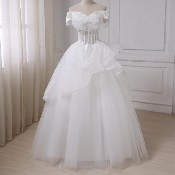 Luxury A-line Wedding Dress Off the Shoulder Sleeveless Tulle See-through Wedding Gowns Floor Length