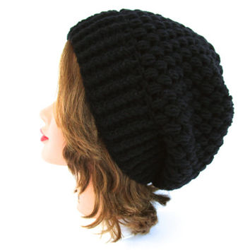Slouchy Beanie - Puff Stitch Hat - Black Hat - Women's Hat - Winter Headwear - Crochet Accessories