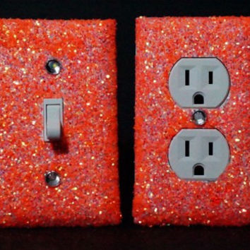 SET OF LUMINOUS ORANGE Glitter Switch Plate Outlet Covers ALL Styles Available!