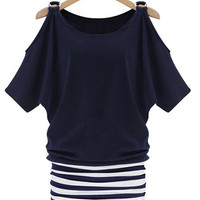 Striped Casual Scoop Neck Off-The-Shoulder Mini Dress