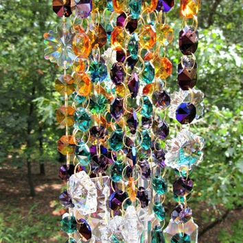 Crystal Wind Chime, Sun Catcher, Glass Wind Chime, Gift for Her, Glass Yard Art, Window Décor, Crystal Patio décor, SC 403