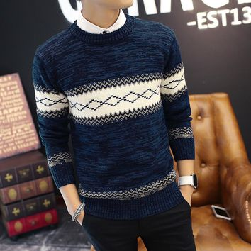 New Fashion Style Men Sweaters Two Colors Casual Wear O-neck Full Sleeve Argyle Khaki Blue Male Pullovers Good Quality Slim Look