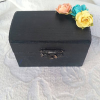 Chalkboard Themed wedding ring pillow alternative Ring Bearer Box with paper Flowers