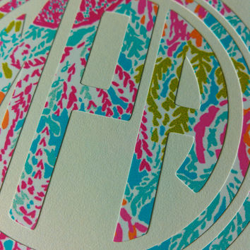 Lilly Pulitzer Print Round Monogram with Double Frame Decal - Lets Cha Cha
