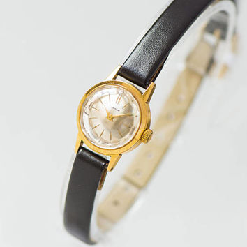 Luxury women's watch very small wristwatch gold plated watch Seagull for lady - unique watch shockproof gift her new premium leather strap