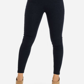 HIGH WAISTED NAVY TEXTURED PANTS