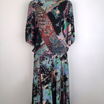 DIANE FREIS!!! Vintage 1980s 'Diane Freis' mismatched  floral print silk dress with dropped waist and panelling