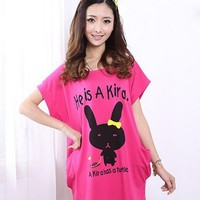 Kawaii Cartoon Tortoise Design Loose T-shirt - Rose Red or Yellow - M L XL from Tobi's Finds