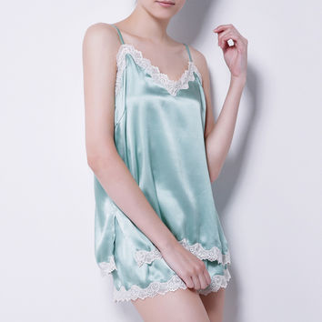 Women's Pure Mulberry Silk Pajama Sexy Nightwear 100% Silk Sexy Nighties Satin Chemise sexy lingerie nightgown female sleepwear