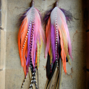 SALE: 20 Percent OFF the ENTIRE shop - Wanderlust Extra Long Feather Earrings