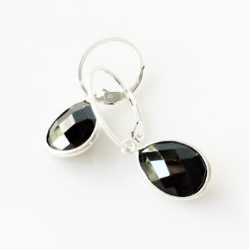 Black Onyx Drop Earrings, Sterling Silver Bezel Set Teardrop, Oval Leverback Earwires, Natural Faceted Gemstone, Opaque Black, Gift for Her