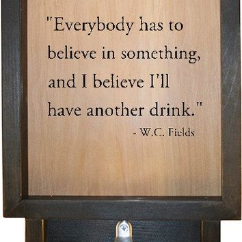 "Wooden Shadow Box Bottle Cap Holder with Bottle Opener 9""x15"" - Everybody has to believe"