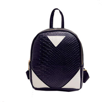 Women Mini Backpack PU Leather Rucksack Concise Serpentine Backpack Travel School Shoulder Bag mochilas mujer INY66