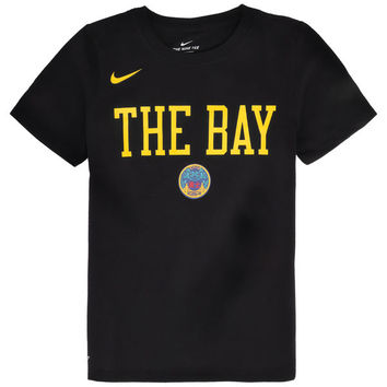 Youth Golden State Warriors Nike Black City Edition Essential Team Performance T-Shirt