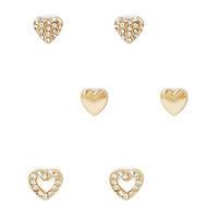 FOREVER 21 Rhinestone Heart Stud Set Gold/Clear One