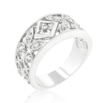 Shana Spring Floral Filigree CZ Band Ring | 2ct | Cubic Zirconia