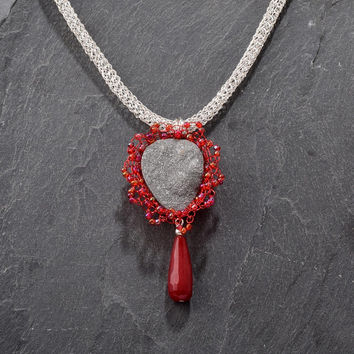 Drusy Quartz Necklace - Silver and Red Wire Crochet Beaded Necklace with Dangling Red Jade