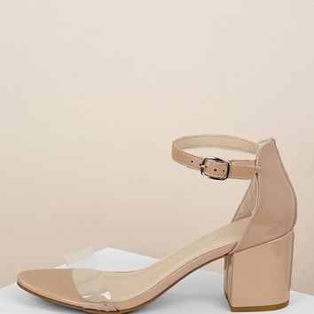 Clear Band Patent Low Heel Ankle Strap Sandals