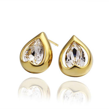 18K Gold Acorn Shaped Stud Earrings Made with Swarovksi Elements
