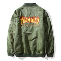 Thrasher Autumn And Winter New Fashion Bust And Back Embroidery Flame Letter Women Men Long Sleeve Top Coat Jacket Green