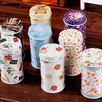 Retro Style Flower Bear Sewing Girl Car Green Purple Flower Metal Toothpick Holder Container Jar Tin Box