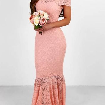 Pink Patchwork Lace Backless Bandeau Mermaid Bodycon Off Shoulder Sweet Bridesmaid Maxi Dress