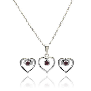 .925 Sterling Silver Rhodium Plated Open Heart Round Red Cubic Zirconia Stud Earring & Necklace Set