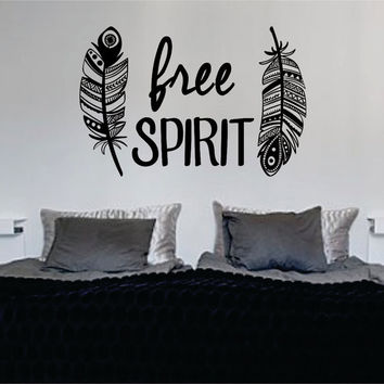 Feathers Free Spirit Design Quote Decal Sticker Wall Vinyl Decor Art