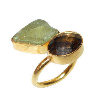 18K Gold Vermeil Ring, Bezel Set Ring, Smoky Quartz Ring, Bypass Ring, Raw Fluorite Ring, Unique Design Ring, Open Ring, Gemstone Ring