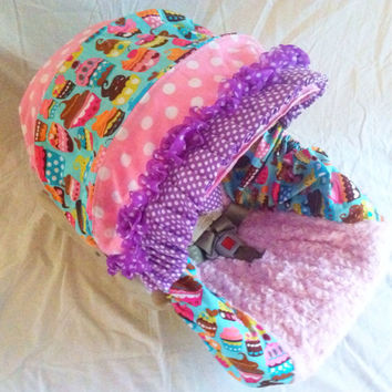 Custom Boutique Girls Infant Car Seat Carseat Cover, Canopy, Head Rest, Chest Strap Covers, Pink and Purple Cupcake Ready To Ship