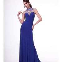 Royal Blue Intricate Neck Formal Jersey Gown 2015 Prom Dresses