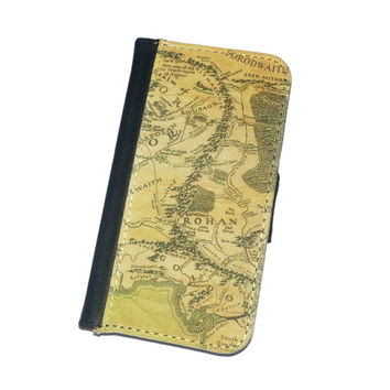 Tolkien LOTR inspired Middle Earth map iPhone 4 / 4S  iphone 5 / 5S flip case wallet